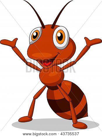 Cute ant waving hand
