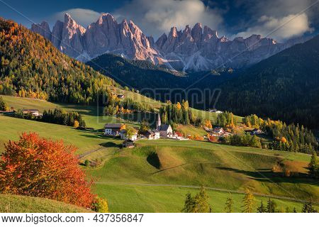 Autumn In Alps. Beautiful St. Magdalena Village With Magical Dolomites Mountains In A Gorgeous Val D