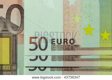 50 Euro Banknote, Macro Lens Closeup, Horizontal Pattern