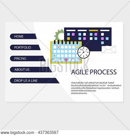 Agile Process In Business Landing Page Vector Organization Kanban System, Task Integration And Plann
