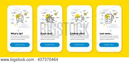 Vector Set Of Train, Megaphone And Distribution Line Icons Set. Ui Phone App Screens With Line Icons