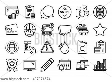 Vector Set Of Globe, Warning And Canister Oil Line Icons Set. Calendar Report, Money Wallet And Cred