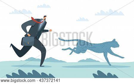 Race Man And Technology. Businessman Chasing Progress. Office Worker Running After Cheetah. High Spe