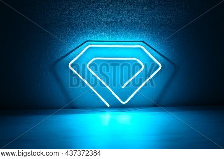 Blue Neon Sign Crystal. Trendy Style. Neon Sign. Custom Neon. Home Decor.