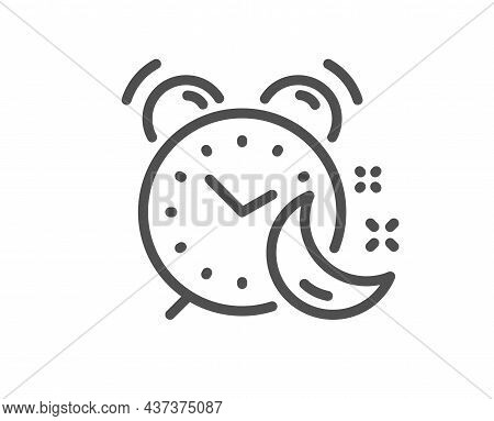 Alarm Clock Line Icon. Night Sleep Time Sign. Bedtime Watch Symbol. Quality Design Element. Linear S