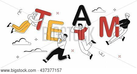 Concept Of Teamwork. People Carry Letters, Workers Put Word Together. Colleges, Workflow, Coworking.