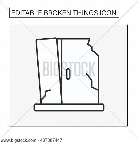 Destroyed Furniture Line Icon. Smashed Cabinet For Cloth. Fractured Room. Vandalism. Broken Things C