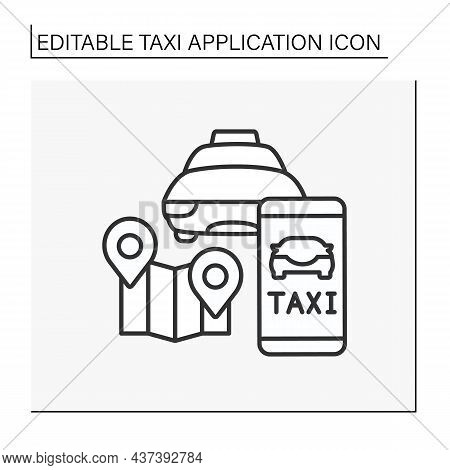 Taxi Line Icon. Fast Auto To Transport Passengers From One Location To Another. Move Around Map. Tra