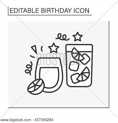 Party Line Icon. Cocktail Party. Refreshing Drinks. Celebration.birthday Concept. Isolated Vector Il