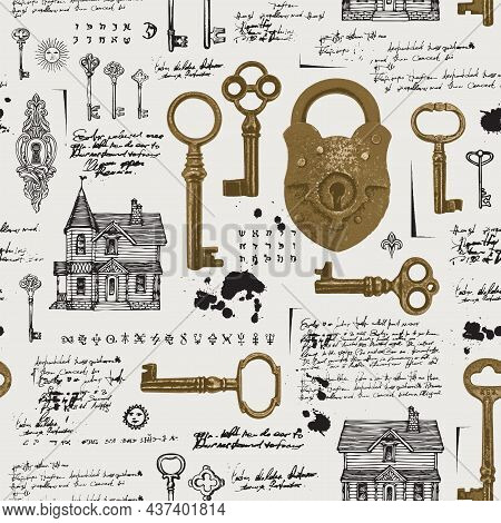 Seamless Pattern With Vintage Padlock, Old Keys, Keyholes And Hand-drawn Log Houses. Vector Backgrou
