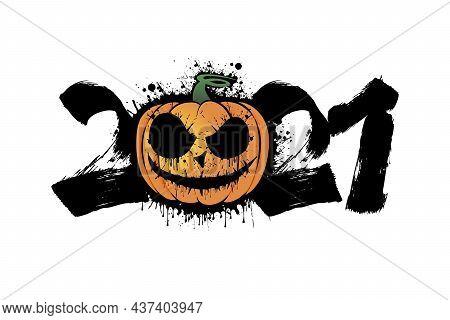 Number 2021 And Halloween Pumpkin