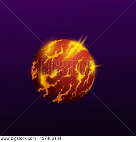 Outer Space Globe, Burning Planet In Atmosphere With Fire Sparkles And Lava Magma Isolated Ui Gui Ga