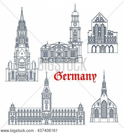 Germany Travel Landmarks And Architecture Buildings Of Hamburg And Lubeck, Vector. German Architectu