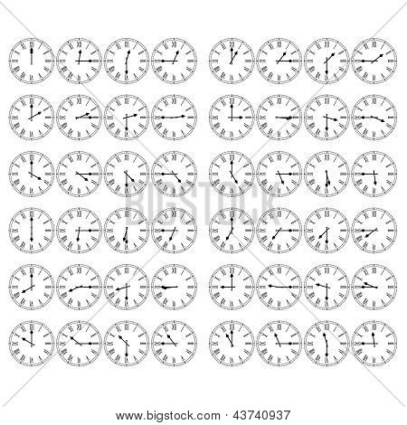 Roman Numeral Clocks Showing Every 15 Minutes