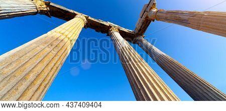 ruins of ancient columns Columns of an ancient Greek temple, ruins