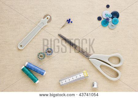 Sewing Accessories In Blue Tones