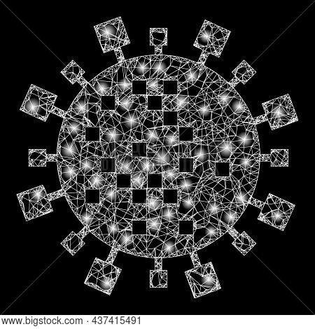 Bright Net Digital Virus Cell With Lightspots. Vector Model Created From Digital Virus Cell Icon, An