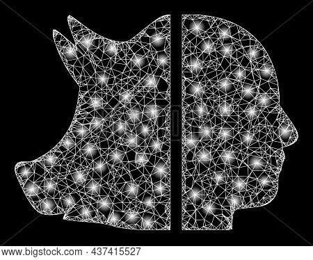 Glowing Wire Frame Dual Pig Man With Light Spots. Vector Frame Created From Dual Pig Man Icon, And F