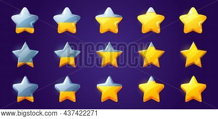 Set Of Stars, Game Score Elements From Empty To Full Rows. Ui Or Gui Rate Yellow Golden Glossy Asset