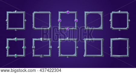 Set Of Square Ui Game Frames, Textured Medieval Jagged Metal Borders. Cartoon Empty Steel Metallic B