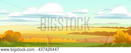 Beautiful Autumn Ordinary Rural Landscape. Rustic Wildlife. Village Is Pasture And Vegetable Garden.
