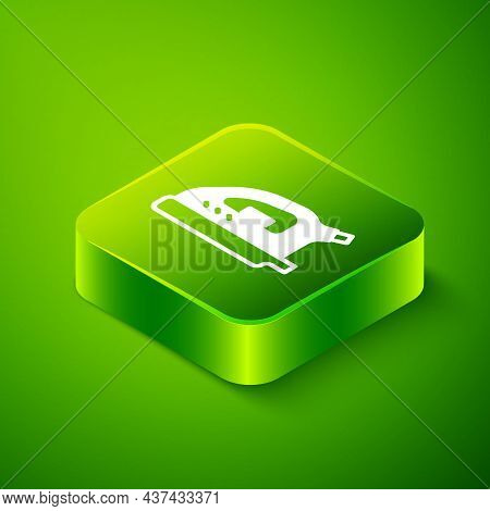 Isometric Electric Iron Icon Isolated On Green Background. Steam Iron. Green Square Button. Vector
