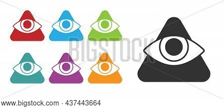 Black Masons Symbol All-seeing Eye Of God Icon Isolated On White Background. The Eye Of Providence I