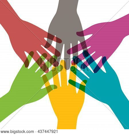Hand Together. Hands Of Teamwork. Group Of People In Team. Concept Of Community And Success. Connect