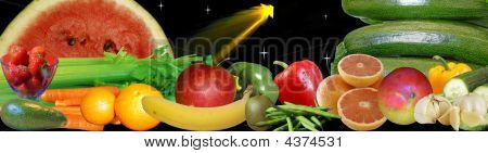 Colorful Fruits And Vegetables Banner