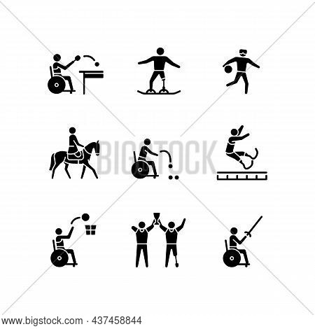 Sport Championship Black Glyph Icons Set On White Space. Varied Athletic Events. Training And Compet