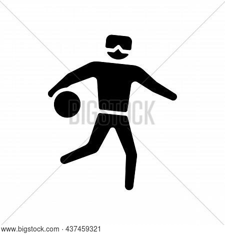 Goalball Black Glyph Icon. Team Sport For Athletes With Vision Impairment. Competitive Court Game. B