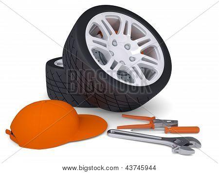 Car wheel and tools
