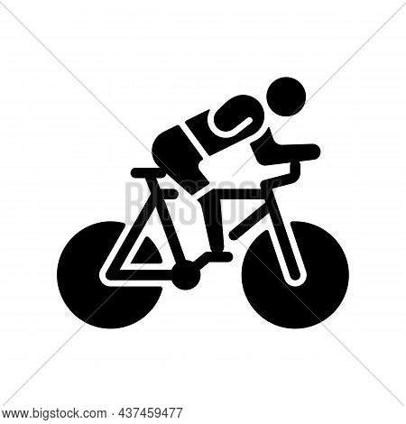 Track Cycling Black Glyph Icon. Bicycle Racing Competition. Riding Bike Across Track Sport Activity.