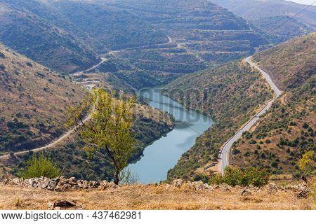 River Douro next to the mouth of the river Coa. Vila Nova de Foz Coa Municipality. Douro Region.