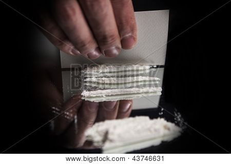 Cocaine Preperation On Mirror Table