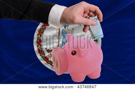 Funding Euro Into Piggy Rich Bank Flag Of American State Of Virginia