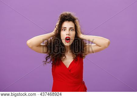 You Do Not Say. Portrait Of Shocked And Impressed Speechless Woman With Curly Haircut In Luxurious E