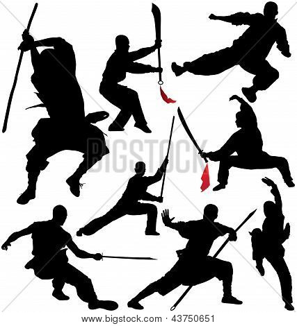 Kung fu, shaolin vector silhouettes
