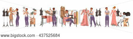 Man Fashion Designer Or Tailor Taking Measurements And Sewing Clothing Garment Model Vector Set