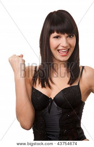 Attractive brunette woman showing YES