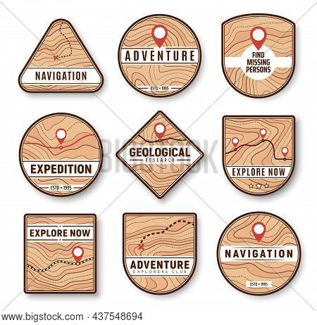 Topographic, Navigation And Expedition Icons. New Area, Remote Location Exploring, Travel Adventure
