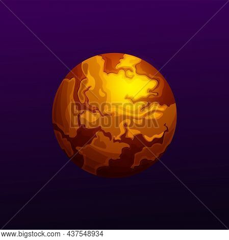 Fantasy Planet In Magma, Fire Or Lava Outer Space Yellow Planet Ui Game Design Element Isolated. Vec