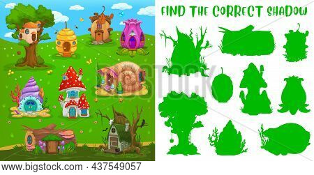 Find Correct Shadow, Fairy House, Kids Game Riddle Or Tabletop Puzzle, Vector. Shadow Match Board Ga