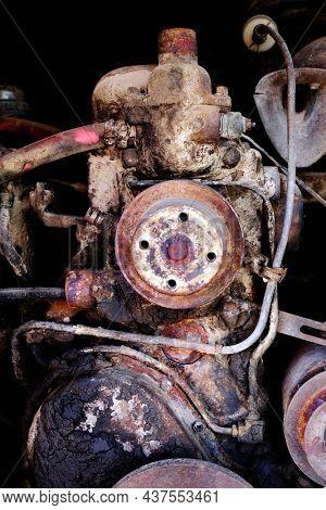 Detail of old vintage truck or car engine