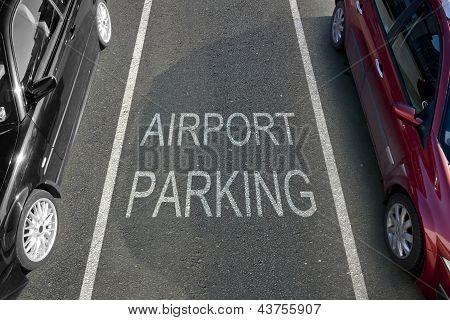 An Airport Parking bay with white markings poster