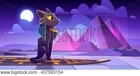 Egyptian Goddess Bastet In Desert With Ancient Pyramids At Night. Vector Cartoon Illustration Of Sac