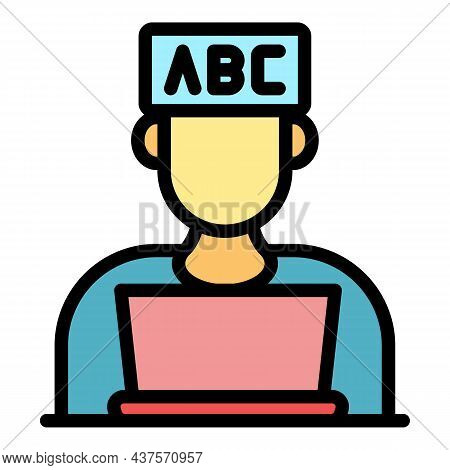 Student At The Laptop Icon. Outline Student At The Laptop Vector Icon Color Flat Isolated