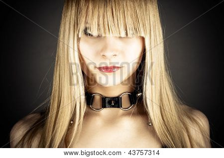 sexy woman with neck collar