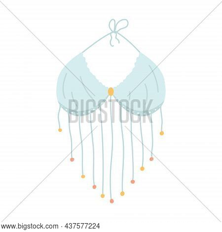 Bodice, Top With Strings And Beads In Boho Style, Vector Illustration In Flat Style.