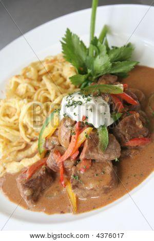 Beef Stroganoff Or Stroganov On Plate